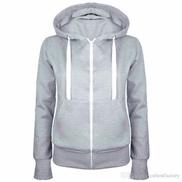 Wholesale Ladies Zip Jacket - 2016 Ladies Women Men Unisex Plain Zip Up Hooded Fleece Warm Sweatshirt Coat Zipper Jacket Top Overcoat Outerwear Hoodies Tracksuit# 81745