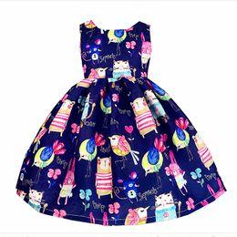 Niños de graffiti online-Recién llegado vestido de niña otoño invierno espesar vestidos de la muchacha azul caliente dibujos animados graffiti niños ropa fiesta de Navidad 10 años zk0824