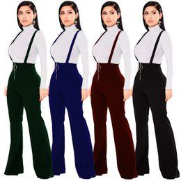 Wholesale Winter Women S Jumpsuit - Micro Wide Leg PantsAutumn Winter Fashion Women Clothes Europe High Waist Round Buckle Zipper Regular Black Blue Green Red Jumpsuits