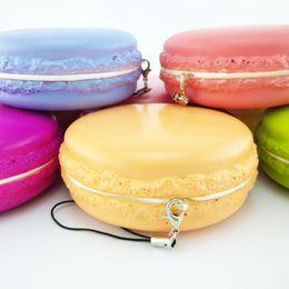 Милые сотовый телефон ремни онлайн-Wholesale-Jumbo 8CM Kawaii Soft Dessert Macaroon Squishy Cute Cell phone Charms Key Straps 1PCS PA121