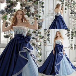 Wholesale Images Cool - Cool Colors Navy Blue Strapless Prom Dresses 2017 Spring Summer Lace Applique Ruched Lace Up Evening Gowns Taffeta And Tulle Pageant Dresses