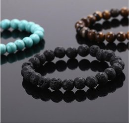 Wholesale Tigers Eye Stone Sale - New product hot sale elastic natural pulseiras bracelet black Lava stone Turquoise green beads and tiger eye stone bracelet
