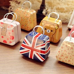 Wholesale Personalized Girls Bag - DHL FREE 100pcs girls metal handbag bag iron Mini Storage can small tin kids coin box candy boxes children