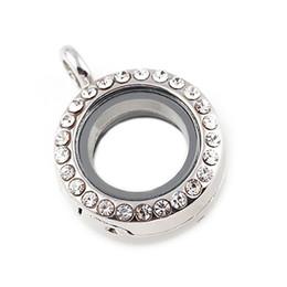 Wholesale crystal lockets wholesale - 10PCS 4 Colors 20mm Round Floating Locket Mini Rhinestone Locket Glass Living Memory Locket without chain