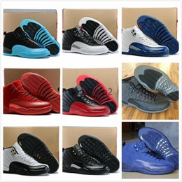Wholesale Mens Chinese Shoes - 2017 Mens Air 12 Red Flu Game Chinese New Year Taxi Gamma Blue Basketball Shoes Sneakers for Men Outdoor Sports Shoes US8-US13