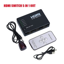 Wholesale Hub Ac - HD 1080p Intelligent 5x1 5 PORT HDMI Switch Switcher Splitter HUB + IR Remote and AC Adapter For HD TV PS3 Supports 3D