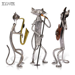 Wholesale Sculpture Home Decoration - Tooarts Metal Sculpture A Playing Guitar Saxophone Singing Cat Home Furnishing Articles Handicrafts For Home Decoration