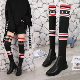 Wholesale Over Knee Socks Leather - Whoelsale Luxury Brand Socks Boots Women Over The Knee High Boots Autumn Winter Knitted Shoes Long Thigh High Boots Elastic Slim Size36-41
