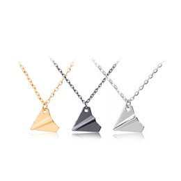 Wholesale Silver Paper Airplane - One Direction Necklace Paper Airplane Plane Pendant Jewelry Men Women Silver Gold Black Gun Color Fashion Jewelry Wholesale 160550