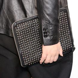 Wholesale Leather Man Clutch Bags - Top quality men cowhide boy clutch purse luxury genuine leather boy cosmetic bag ipad bag man rivet bags