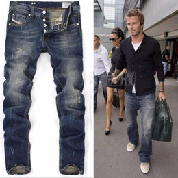 Wholesale designer blue jeans for men - High Quanlity men famous brand blue denim designer high quality ripped jeans for men classic retro David Beckham
