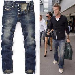 Wholesale American Blue Jeans - High Quanlity men famous brand blue denim designer high quality ripped jeans for men classic retro David Beckham