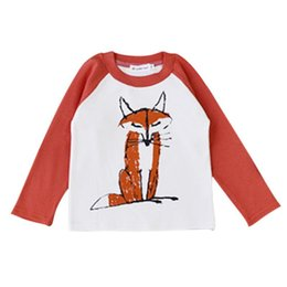 Wholesale Wholesale Baby Clothings - Wholesale- Kids Baby Clothings Boy Girl Cute Fox Print Cotton T Shirt Long Sleeve T-shirts Tee Tops Children Clothes W039