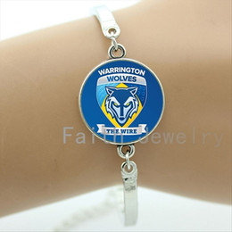 Wholesale Bezel Wire - Cool men gifts case for warrington wolves the wire bracelet 2016 new fashion rugby team logo bracelets Father's Day gifts NF010