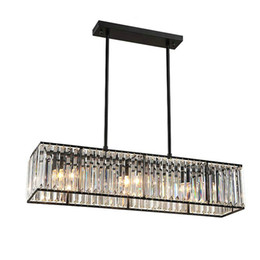 Wholesale Black Iron Crystal Chandelier - Crystal Chandelier Black Bronze Hanglamp Modern Chandelier with 6 Lights Dining Room Light Fixtures Industrial Lam