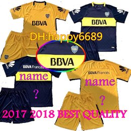 Wholesale Best New Homes - New 17 18 Adult Boca Juniors Soccer Jersey kits Best quality 2017 2018 GAGO OSVALDO CARLITOS PEREZ P HOME Blue AWAY Yellow Football shirts