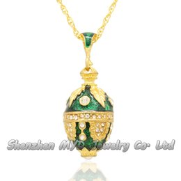 Wholesale Russian Maple - Stylish women jewelry high quality necklace colorful enamel crystal maple leaf Russian style Faberge egg pendants for ladies