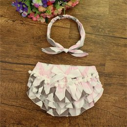 Wholesale Clothes Photo Props - Hot Sale Baby Girls Clothing ,Rainbow Ruffled Baby Bloomers ,Birthday outfit ,Photo Prop, Pom Summer shorties with headwraps