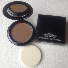 Wholesale Long Sponge - NW47 dark color good quality makeup new studio fix powder plus make up face foundation 15g face powder concealer with sponge makeup
