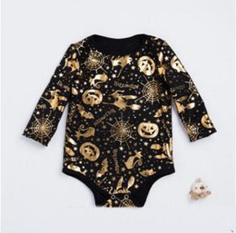Wholesale Toddler Boys Party Clothes - Baby Long Sleeve Halloween Rompers Jumpsuits FALL Winter Newborn Boys Girls Pumpkin Switch Halloween Party Costumes Infant Toddler Clothes