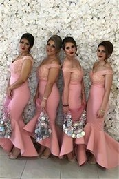 Wholesale Cheap Green Mermaid Skirt - 2017 New Arabic Sweetheart Off Shoulders Cheap Bridesmaid Dresses Backless Lace Bodice High Low Dubai Ruffle Skirt Maid of the Honor Dresses