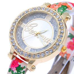 Wholesale Flashing Manufacturers - Wish hot style Printing fine belt ladies watch Flash powder surface set auger Geneva watches manufacturer wholesale