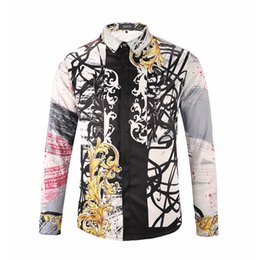 Wholesale Black Red Flannel Shirts - Italy Flannel Men's Luxury Brand Shirts Medusa Cartoon Animal Floral Print Colour Mixture Casual Harajuku Men's Long sleeves Shirts M--2XL