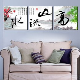 Wholesale Poetry Paintings - Unframed 3 Pieces Free Shipping art picture Canvas Prints chinese characters poetry Plum fish Dandelion Sunflower Home decoration tulips