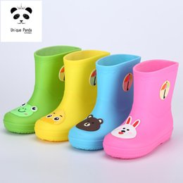 Wholesale Rainboots For Boys - Unique Panda Rainy Day Children Shoes Girls Boots PVC Rubber Waterproof Rainboots Cartoon Bear Duck Frog Rabbit Little Kids Boots for Boys