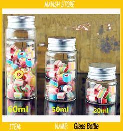 Wholesale offset mini - 60ml Mini Empty Glass Candy Bottle Clear Cosmetics Bottle Container Aluminum Screw Cap Empty Candy Bottle 20pcs Lot Free Shipping