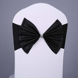 Wholesale Taffeta Chair Covers Sash - 2016 Hot Elastic Bow Chair Sashes Wedding Decoration Spandex Sash for Chair Cover Nice Design Sahes For Events and Banquet