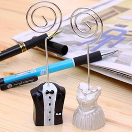 Wholesale engagement table - Wedding Favor Bride and Groom Place Card Holders Resin Craft Supplies Engagement Party Table Card Holder ZA4431