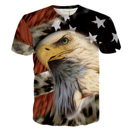 Wholesale Women S American Flag Shirt - Wholesale-2016 fashion Harajuku Newest Eagle USA American Flag 3D Print T-Shirts Short Sleeve Tops Tee for Men Women Causal Tee Shirts