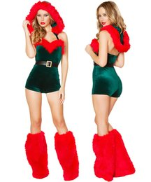 Wholesale Sexy Santa Suits - Ladies Sexy Miss Santa Christmas Hooded Romper Suit Fancy Dress Costume Outfit ZL765 S-L