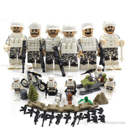 Wholesale Toy City Buildings - 6PCS City police Swat team CS Commando Army soldiers with Weapon Gun Building Blocks CompatibleMilitary Toy