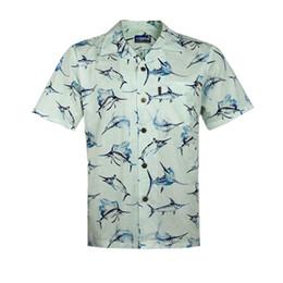 Wholesale Men Fancy Shirts - Wholesale-Men's Hawaiian Beach Shirts Marlin Fish Animal Cotton Large Plus Size Fancy Dress Shirts For Men chemise homme camisa Overhemd