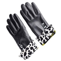 Wholesale Ladies Black Leather Gloves - Wholesale- Sheila Women Girl Luxurious PU Leather Winter Super Warm Driving Gloves Cashmere Bow Leopard Sexy Lady Black Cool Luvas Oct13