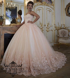 corset blush wedding dress Coupons - Vintage blush pink Wedding Dresses Bridal Gowns Turkey Lace Bling Beaded Tulle Sweetheart Corset Back Puffy Plus Size Ball Gown