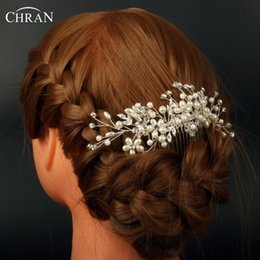 Wholesale Bride Hairpiece - Chran Faux Pearl Bridal Hair Combs For Brides Wedding Hairpiece Accessories For Women Crystal Floral Headpiece Jewelry