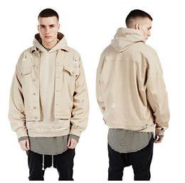 Wholesale Jaqueta Jeans Masculina - Fall-Denim Jacket Men With Hole Fashion 2016 Streetwear Jaqueta Jeans Masculina Mens Jackets And Coats Oversize Bat Design Kanye West