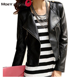 Wholesale Camel Leather Coat - Wholesale-Moet &She 2016 New Fashion Autumn Winter Women Brand Faux Soft Leather Jackets Pu Black Camel Motorcycle Coat M-XXL C66274R