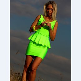 Wholesale Chiffon Miniskirt - Sexy Backless Miniskirt Fluorescent Color Pleated Flounces Ladies Skirt Suit Sleeveless Night Club Dress Women Plus Size Dress
