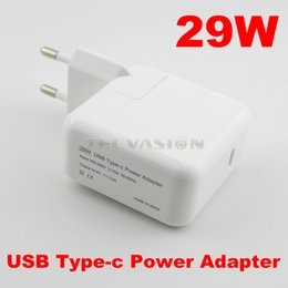 "Wholesale Eu Uk Adaptors - Wholesale-High Quality 29W USB 3.1 Type-c Power Adapter Travel Wall Charger for Macbook Mac NEW 12"" 2016 latest US UK AU EU Plug adaptor"