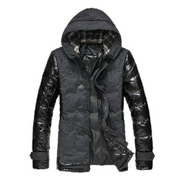 Wholesale Winter Jacket Horn Hooded - Fall-2016 Winter Men's Jacket Horn Button Hooded Down Coat Brand Man Patchwork Pu Leather Cotton-Padded Parkas Outwear Thick Overcoat