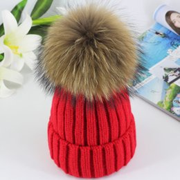 Wholesale mink balls - 2017 High Quality Real 15cm Mink Ball Pom Pom Beanies Cap Winter Hat For Women New Female Thick Wool & Cotton Warm Knitted Caps 04