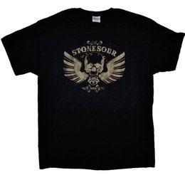 Wholesale Girls Wing Top Shorts - STONE SOUR 990 Skull Wings Black T-Shirt Cotton Low Price Top Tee For Teen Girls