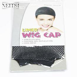 Wholesale Cheap Nylon Netting - Neitsi Cheap Nylon Hairnet Hair Nets 10PCS BAG Black Hair Caps for Hair WIGS