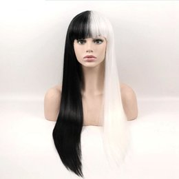 cosplay white straight long hair Promo Codes - Hair Black White Long Straight Wigs Synthetic Hair High Temperature Fiber Cosplay Wig 24inch Women Wig