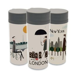Wholesale Bpa Free Travel Water Bottle - Modern Personalized City Travel Drinkware With Lid BPA Free Plastic Insulated London New York Paris Kids Water Bottle 300ml Gift