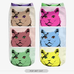 Wholesale Girl Pop Art - Wholesale-2016 Women Girl Casual Thin Funny Harajuku POP ART CAT Print Anklet Socks Chaussettes Femmes Rigolote Calcetines